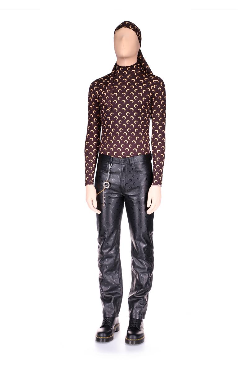 AWGE x Marine Serre Moon Leather Straight Leg Trousers